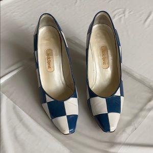 Handmade leather blue checker pattern heels